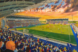 Hand Painted original of falkirk stadium on matchday